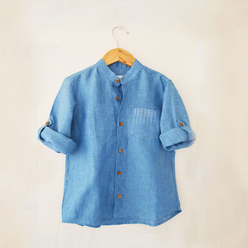 Liz Jacob Blue Linen Shirt