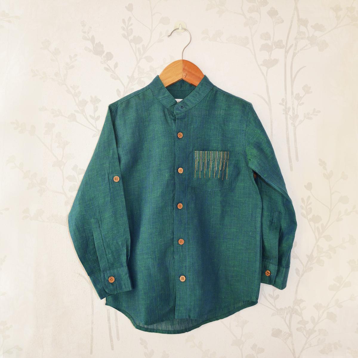 a3aba4928ac Boys  Royal Green Shirt - Liz Jacob  Elegant Handcrafted Kids Wear
